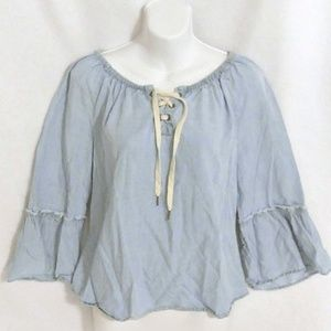 Denim-style, lace up top with bell sleeves